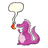 Cartoon fire breathing dragon with speech bubble Stock Image