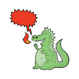 Cartoon fire breathing dragon with speech bubble Stock Photo