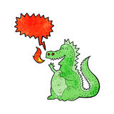 Cartoon fire breathing dragon with speech bubble Royalty Free Stock Images