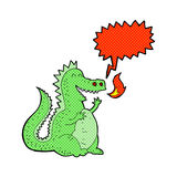 Cartoon fire breathing dragon with speech bubble Royalty Free Stock Photography