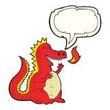 Cartoon fire breathing dragon with speech bubble Stock Photos