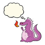 Cartoon fire breathing dragon with thought bubble Stock Photos