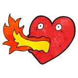 Cartoon fire breathing heart Royalty Free Stock Photos