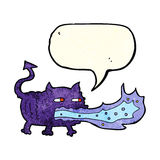 Cartoon fire breathing imp with speech bubble Royalty Free Stock Image