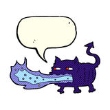 Cartoon fire breathing imp with speech bubble Stock Images