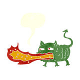 Cartoon fire breathing imp with speech bubble Royalty Free Stock Photography