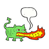 Cartoon fire breathing imp with speech bubble Stock Photo
