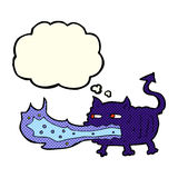 Cartoon fire breathing imp with thought bubble Royalty Free Stock Photography