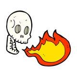 Cartoon fire breathing skull. Hand drawn cartoon illustration in retro style.  Vector available Stock Photo