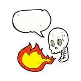Cartoon fire breathing skull with speech bubble Stock Photos