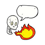 Cartoon fire breathing skull with speech bubble Stock Image