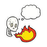 Cartoon fire breathing skull with thought bubble Royalty Free Stock Photos