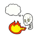 Cartoon fire breathing skull with thought bubble Royalty Free Stock Photography