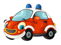 Cartoon fire brigade car - isolated Royalty Free Stock Image