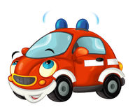 Cartoon fire brigade car - isolated. Beautiful and colorful illustration for the children - for different usage - for fairy tales Stock Photo