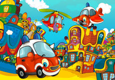 Cartoon fire brigade car smiling and looking in the parking lot / helicopter plane flying over. Beautiful and colorful illustration for the children - for Stock Image