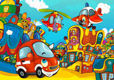 Cartoon fire brigade car smiling and looking in the parking lot / helicopter plane flying over. Beautiful and colorful illustration for the children - for Royalty Free Stock Photography