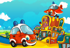 Cartoon fire brigade car smiling and looking in the parking lot and plane flying over. Beautiful and colorful illustration for the children - for different usage Royalty Free Stock Photo