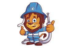 Cartoon Fire Brigade Lion. Vector cartoon illustration of fire brigade lion character. Isolated on white background royalty free illustration
