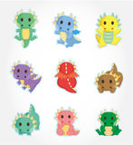 Cartoon fire dragon icon set. Drawing Stock Photography
