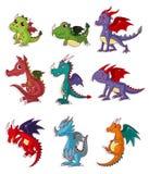 Cartoon fire dragon icon set. Illustration Royalty Free Stock Image