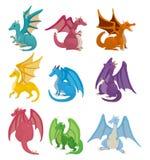 Cartoon fire dragon icon set. Illustration Stock Image