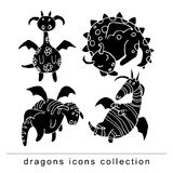Cartoon fire dragon icon set Stock Images