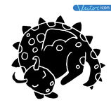 Cartoon fire dragon icon set Royalty Free Stock Images