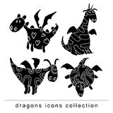 Cartoon fire dragon icon set Stock Photo
