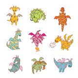 Cartoon fire dragon icon set Vector illustration Stock Photo