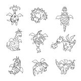 Cartoon fire dragon icon set Vector illustration.  Royalty Free Stock Images