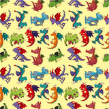 Cartoon fire dragon seamless pattern Royalty Free Stock Photos