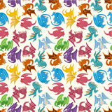 Cartoon fire dragon seamless pattern Stock Photo