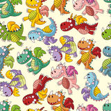 Cartoon fire dragon seamless pattern Royalty Free Stock Photography
