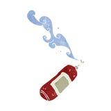 Cartoon fire extinguisher. Retro cartoon with texture. Isolated on White Stock Photo