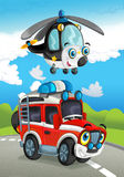 Cartoon fire fighter car smiling and looking on the road. Beautiful and colorful illustration for the children - for different usage - for fairy tales Royalty Free Stock Images