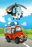 Cartoon fire fighter car smiling looking on the road and police helicopter flying over. Beautiful and colorful illustration for the children - for different Stock Image
