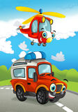 Cartoon fire fighter car smiling looking on the road and police helicopter flying over. Beautiful and colorful illustration for the children - for different Royalty Free Stock Photo