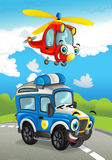 Cartoon fire fighter car smiling looking on the road and police helicopter flying over. Beautiful and colorful illustration for the children - for different Stock Images