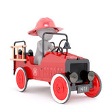 Cartoon Fire Fighter Driving Antique Fire Truck Royalty Free Stock Images