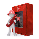 Cartoon Fire Fighter Holding Fire Extinguisher. 3d Rendering of Cartoon Figure Wearing Helmet and Holding Fire Extinguisher Standing in front of Red Emergency Royalty Free Stock Image