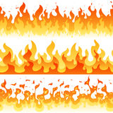 Cartoon fire flame vector seamless frame borders. Seamless orange fire border decoration illustration Stock Photo
