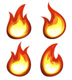 Cartoon Fire And Flames Set. Illustration of a set of cartoon fire elements and flames shapes burning Royalty Free Stock Images