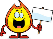 Cartoon Fire Sign. A cartoon illustration of a fire holding a sign Royalty Free Stock Image