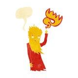 Cartoon fire spirit with speech bubble Stock Photography