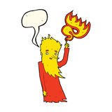 Cartoon fire spirit with speech bubble Stock Photos