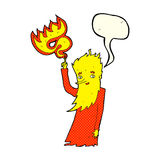 Cartoon fire spirit with speech bubble Royalty Free Stock Photo