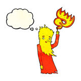 Cartoon fire spirit with thought bubble Stock Photography