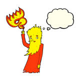 Cartoon fire spirit with thought bubble Stock Photo