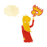 Cartoon fire spirit with thought bubble Stock Image